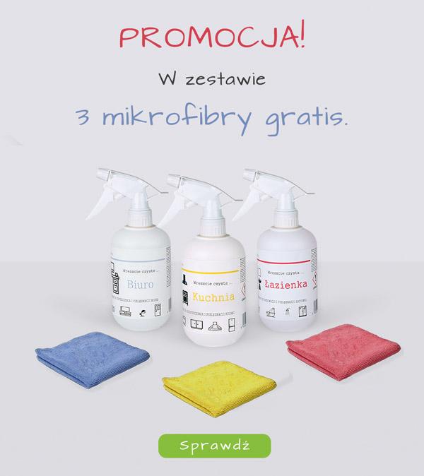 środki czystości plus mikrofibry gratis